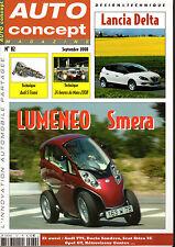 REVUE MAGAZINE AUTO CONCEPT N°82 09/2008 LUMENO SMERA AUDI TTS SANDERO LANCIA