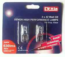Xenon Capsule Bulbs Lamps, 42W G9 base, UV-Stop Clear, 240v, Pack 2 by Lyvia