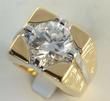 5 carat simulated white sapphire mens ring 18K yellow gold overlay size 13
