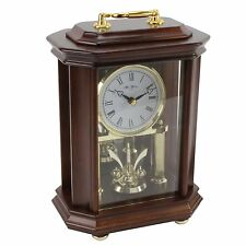 RHYTHM Solid Wood  Mantel Piano  Clock  With Rotating Pendulum & Melodies