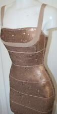 authentic Herve Leger stunning dune brown sequin Katherine cocktail dress new xs