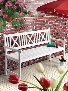 AALBORG Gartenbank Sitzbank Holzbank Bank Garten Balkon weiß gewischt Designer