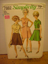 Vintage Simplicity #7982 Size 8 Kleid Muster 1969 (Brust 31 1/2) Uncut Mad Men