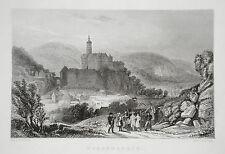 Burg Weesenstein  Sachsen echter alter Stahlstich 1850