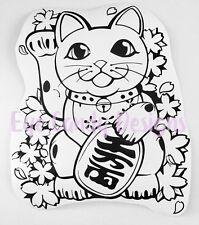 Vinilo Calcomanía Adhesivo Lucky Cat Fortuna Maneki Neko Chino Amor 9 X 12 in (approx. 30.48 cm):)