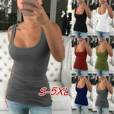 PLUS SIZE WOMEN SLEEVELESS VEST TOPS SEXY TEES SLIM TANK TOP CROP TOPS SPORTS