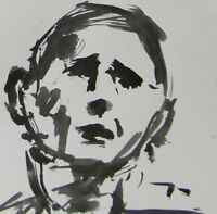 """JOSE TRUJILLO ABSTRACT EXPRESSIONISM INK WASH MINIMALIST 8x8"""" on Paper Man Face"""