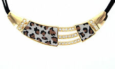 eSmart Women Crystal Gold Leopard Print Leather Strip Fashion Jewelry Necklace