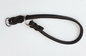Fettleder Halsband max. Kopfumfang 35cm x 8mm 2 Chromringe Braun geflochten