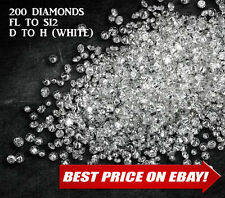 100% NATURAL Loose Round Single Cut 200 Diamonds Real FL-SI, D-H(white) Polished