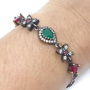Deco 4.65ct Emerald, Ruby & Diamond Cut Sapphire 14K Yellow Gold Silver Bracelet