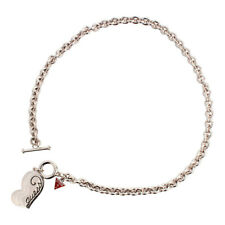 Guess Jewelry UBN80804 Ladies Silver Stainless Steel Heart Charm Chain Necklace