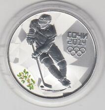 Rußland  3 Rubel  2014  Oly Sotschi  Eishockey  mit Zertifikat  Silber  PP