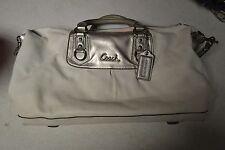 Ladies Leather Genuine White & Silver Authentic Coach Bag Designer Purse BIN $45