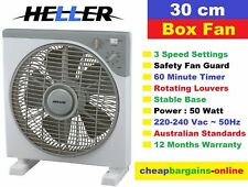 HELLER 30cm BOX FAN WITH TIMER 3 SPEED SETTINGS PORTABLE UNIT STABLE BASE 50 WAT