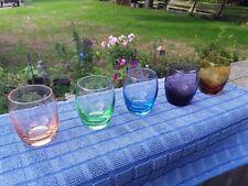Vintage Liqueur / Whiskey Etched Coloured Shot Glasses.5 Pcs.Collectible Barware