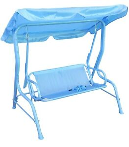 Childrens Outdoor Indoor Swing Chair Hammock Canopy Two Seater Kids Swing Blue