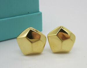 Tiffany & Co Vintage Rare Large 18k Yellow Gold Facet 13.6 Gram Pierced Earrings