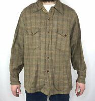 Vintage 60s Pendleton Board Shirt Mens XL Plaid Wool Flannel Button Up Brown Tan