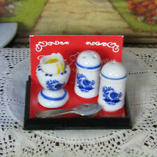 Vtg Dollhouse Kitchen REUTTER SALT PEPPER SHAKERS & POACHED EGG Porcelain Dishes