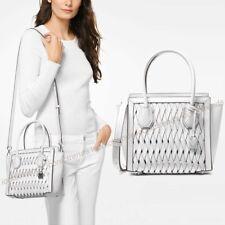 NWT 🌸 Michael Kors Mercer Studio Medium Messenger Woven Leather Bag Optic White