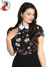 HELL BUNNY VIVA LAS VEGAS BLOUSE 50s shirt CARDS CHIFFON black TOP