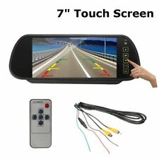 "7"" LCD Touch Screen Car Mirror Monitor Rear View Reverse Camera Parking Radar"
