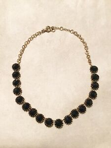 J. Crew Navy Blue And Gold Short Statement Necklace