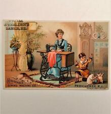Antique Victorian Trade Card Household Sewing Machine Wheelden's Bangor Maine