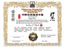 Shorin Ryu Custom 11 X 14 certificate