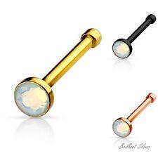 Nasenpiercing Nasenstecker Nasenring Gerader Stab Opal Gold Schwarz Rosegold