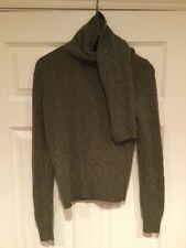"Ralph Lauren Black Label Green Cable Knit 100% Cashmere ""Scarf"" Sweater, Size L"