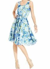 NWT BETSEY JOHNSON Sz2 CHIFFON FLORAL PLEATED SHEATH PARTY DRESS IN COBALT MULTI