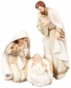 Xmas Holy Family Christmas White Ornament 3 Figures Traditional Decoration