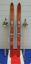 TINY RARE CHILDRENS ANTIQUE  VINTAGE WOODEN SKIS AND POLES  98cm