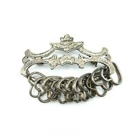 Vintage Art Deco Style Silver Tone Ornate Brooch Pin with 11 Heart Charms