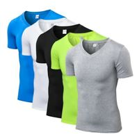 Men's Compression V-Neck Sport T-shirt Short Sleeve Fitness Workout Skin Shirt