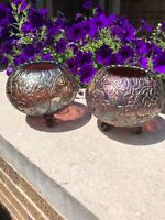 2 Vintage Northwood Carnival Glass Footed Rose Bowl Flowers and Leaves