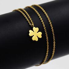 Collana In Oro con Quadrifoglio Acciaio inox dorato 18K Donna NUOVO