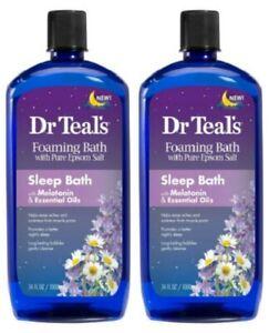 (2) Dr Teal's Foaming Sleep Bath With Epsom Salt Melatonin & Essential Oils 34oz