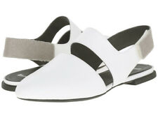 CAMPER Isadora Slingback Flat Shoes 39 8.5 9 White Leather Calf Hair NEW