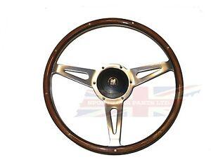 "New 15"" Laminated Wood Steering Wheel and Hub Adaptor Triumph TR4 TR250 TR6"