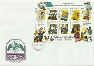 DOMINICA 13 DEC 2001 HISTORY OF THE WORLD CUP S/SHEET O/S FIRST DAY COVER