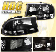 Dodge Dakota Durango Direct Replacement Headlights Park Clear Lens Lh Rh Black
