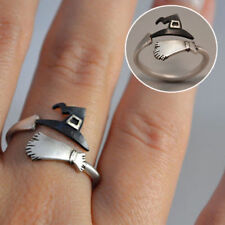 Halloween Ghost Witch Broom Finger Ring Open Rings Party Cosplay Jewelry Rings
