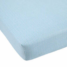 Balboa Baby Grey Dahlia & Navy Leaves Collection Fitted Crib Toddler Sheet  Aqua