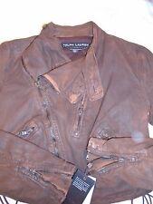 Ralph Lauren Black Label Denim Cotton Blend Motorcycle Jacket NWT Size 6 $1295