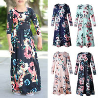 Kids Baby Girl Floral Maxi Dress Long Sleeve Party Wedding Princess Dresses 3-10