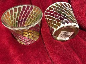 2 x Yankee Candle Mosaic Glass Tealight/Votive Holder