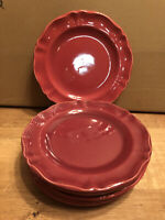 "Set (7) VARAGES Luberon Red 8"" Luncheon/Salad Plates, Made in France"